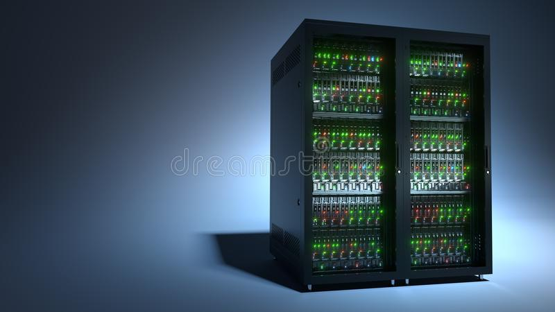 Server. Cloud computing data storage 3d rendering royalty free stock images