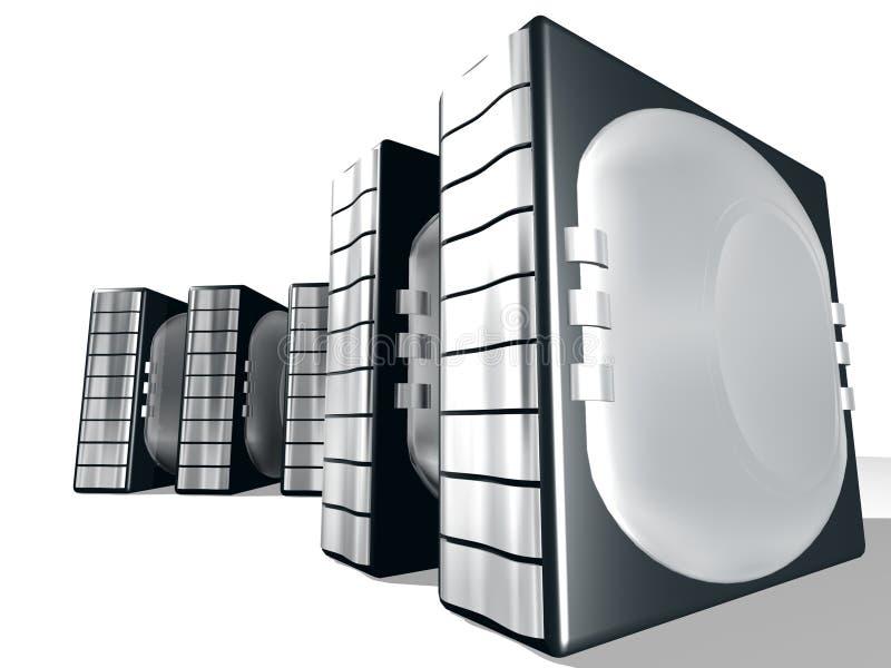 Server com metal de prata ilustração stock