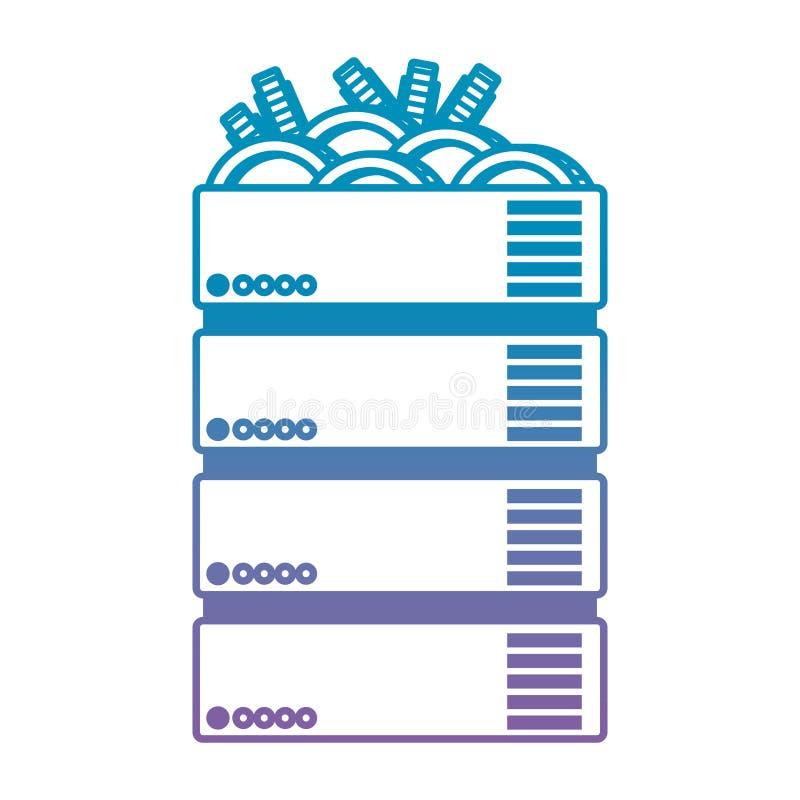 Server con l'icona di tecnologia di commercio dei bitcoins royalty illustrazione gratis