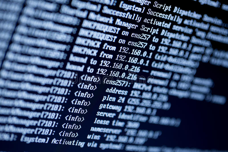 Server configuration command lines on a monitor royalty free stock images