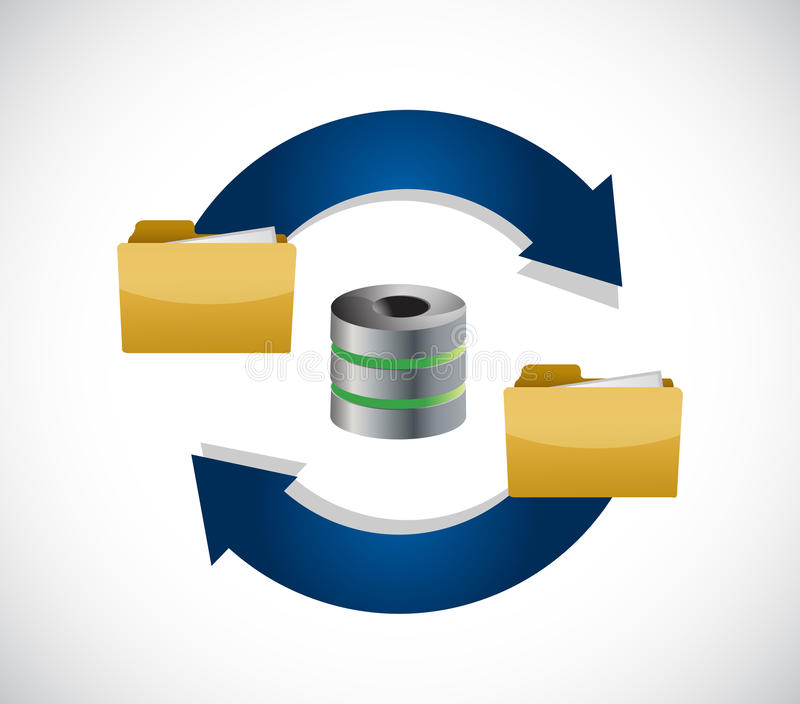 Server content storage cycle illustration icon. Isolated over white stock photography
