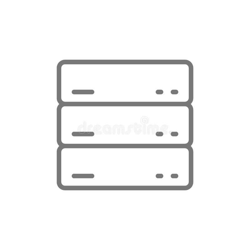Server data, linje symbol f royaltyfri illustrationer