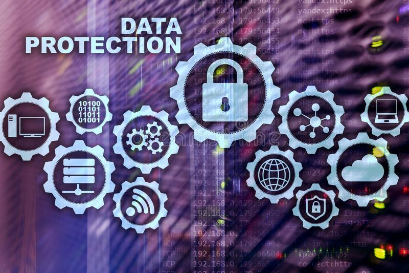 Server data protection concept. Safety of information from virus cyber digital internet technology. royalty free stock image