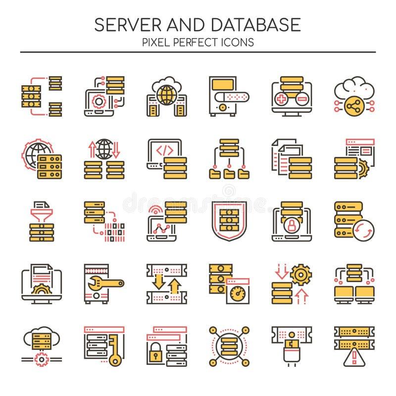 Server and Database , Thin Line royalty free illustration