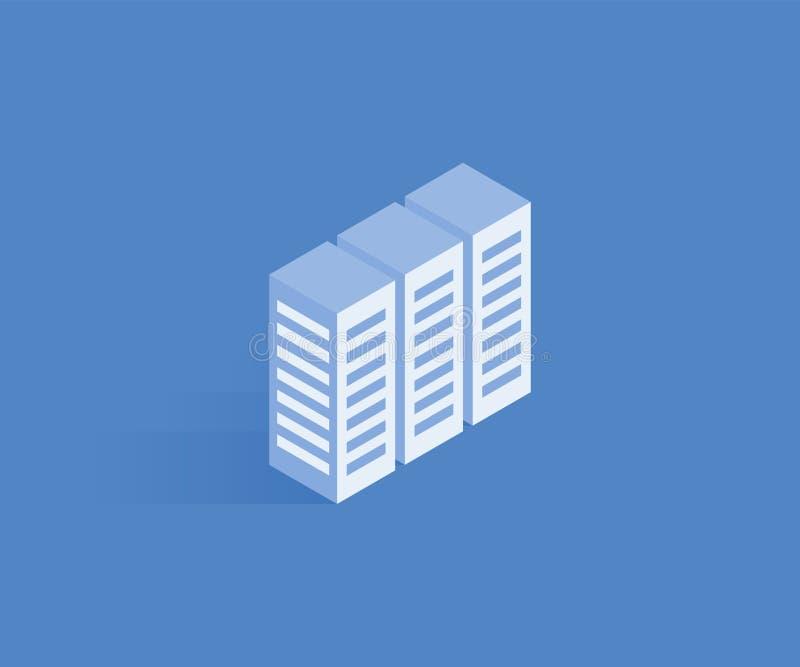 Server, Daten, isometrische Ikone des Web-Hostings Vector Illustration für Webdesign in der flachen isometrischen Art 3D lizenzfreie abbildung