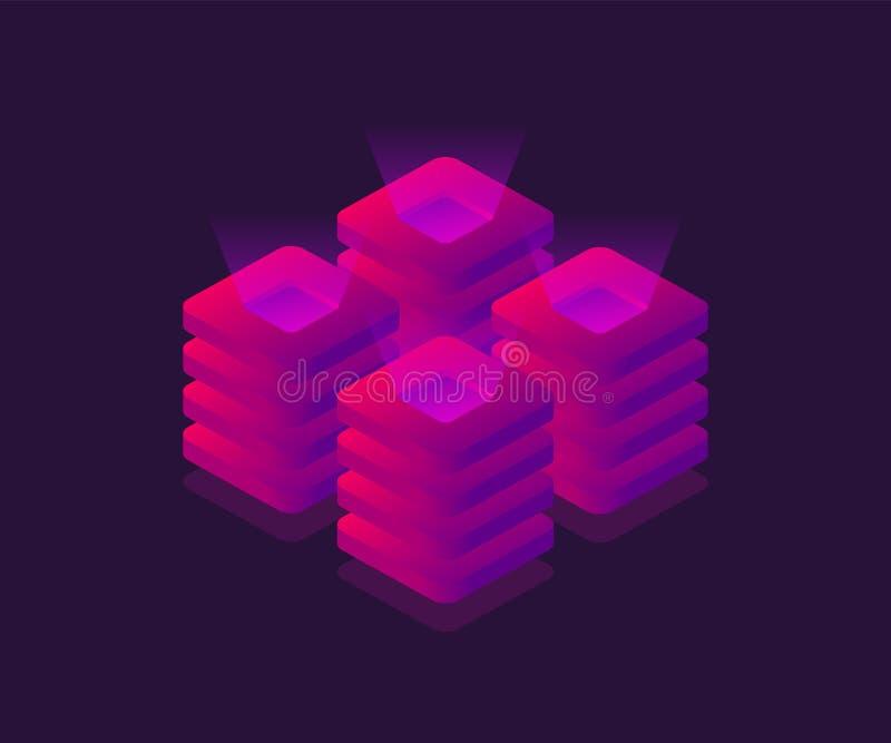 Server, Datenspeicherung, Rechenzentrum isometrische Ikone Abbildung des Vektor 3d vektor abbildung