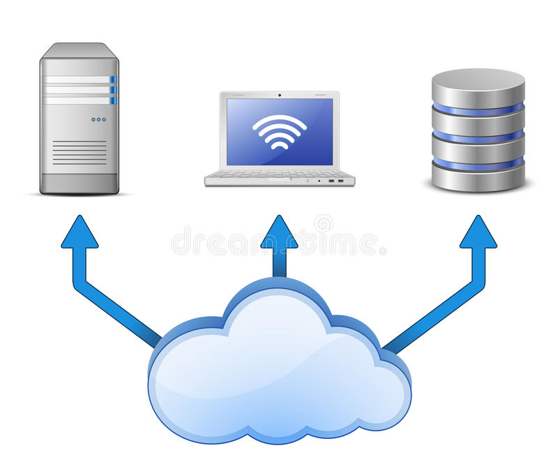 Download Server, DB And Laptop Connected To Cloud Computing Stock Vector - Illustration: 24894091