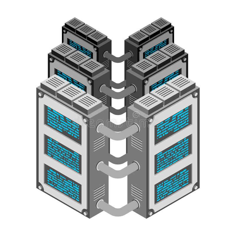 server De gegevens centreren Isometrische stijl Internet-de industrie Gegevenstra stock illustratie