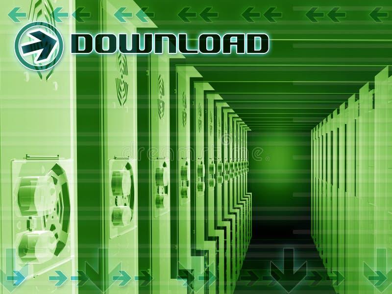 Server del Internet di trasferimento dal sistema centrale verso i satelliti illustrazione di stock