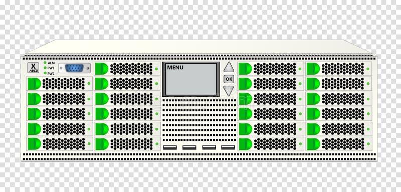 Server di classe carrier, dimensioni 3u, bianco a colori, con 23 2 Dischi rigidi da 5' per l'installazione su rack da 19' royalty illustrazione gratis