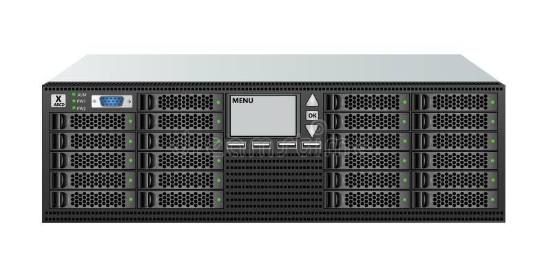 Server di classe carrier, dimensioni 3u, con ventitré 2 Dischi rigidi da 5' per l'installazione su rack da 19' royalty illustrazione gratis