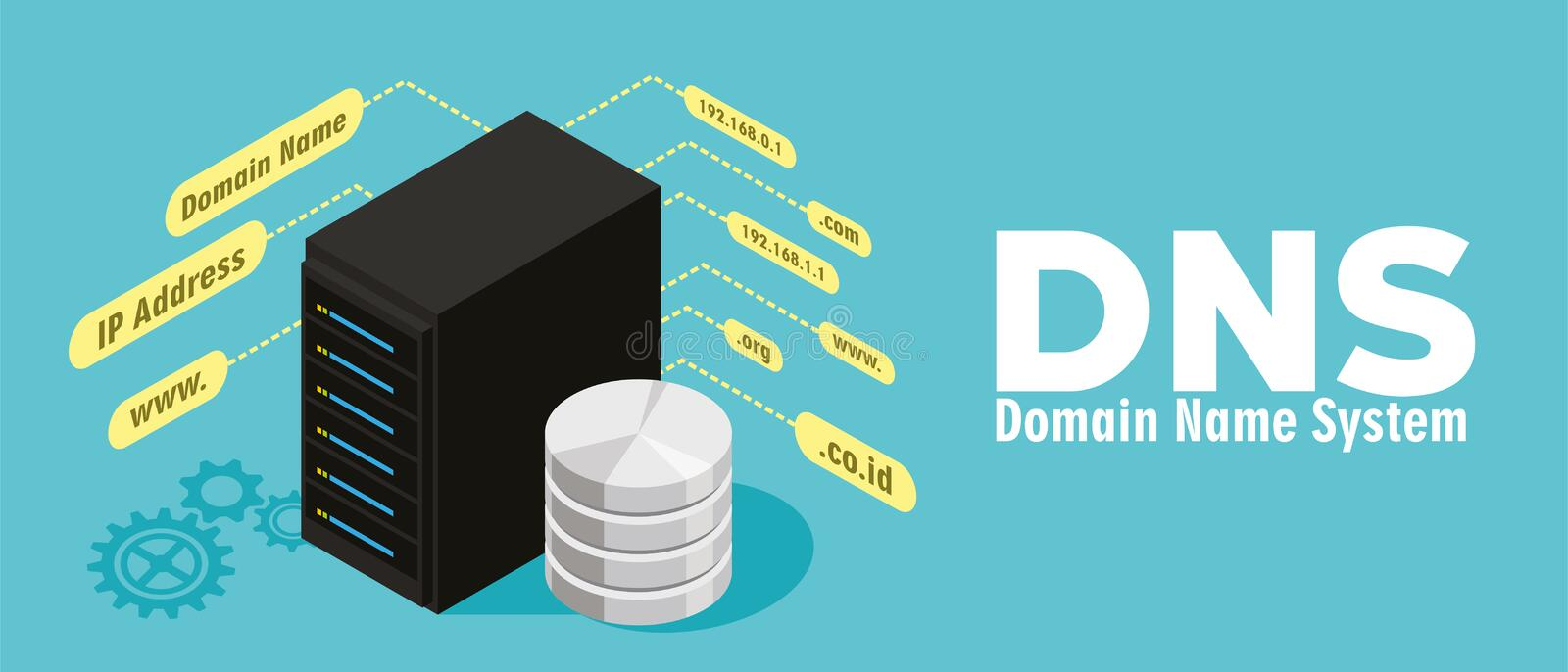Server di Domain Name System del DNS illustrazione vettoriale