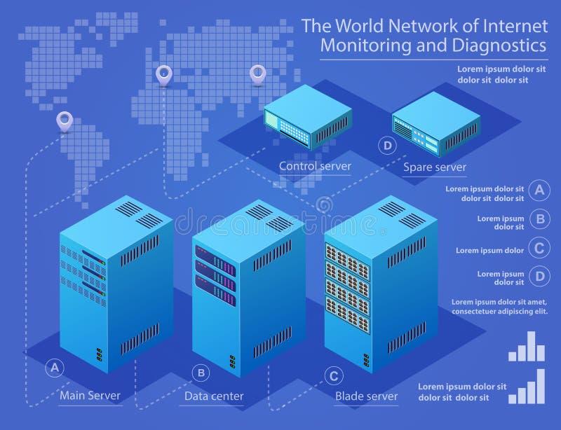Server di tecnologia del centro dati illustrazione vettoriale