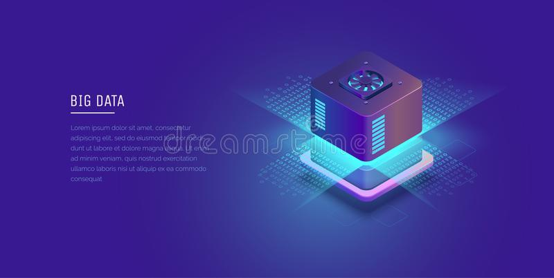 Server. Digital space. Data storage. Data center. Big Date. Conceptual illustration, data flow. Isometric vector vector illustration