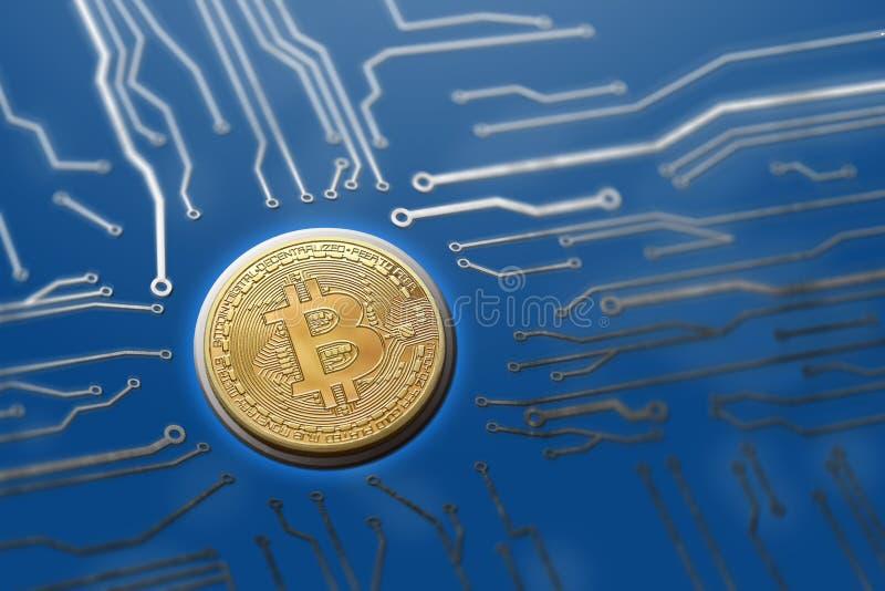 Server digitali della generazione di valuta del circuito di Bitcoin immagine stock