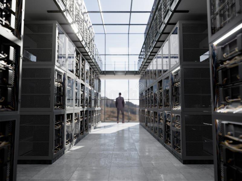 Server e stanza dell'hardware con la foto del primo piano di tecnologie informatiche della tazza di caffè e del taccuino fotografie stock