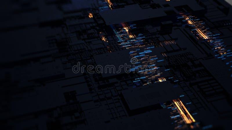 Server f?r br?de f?r utskrivaven str?mkrets futuristisk framf?rande 3d vektor illustrationer