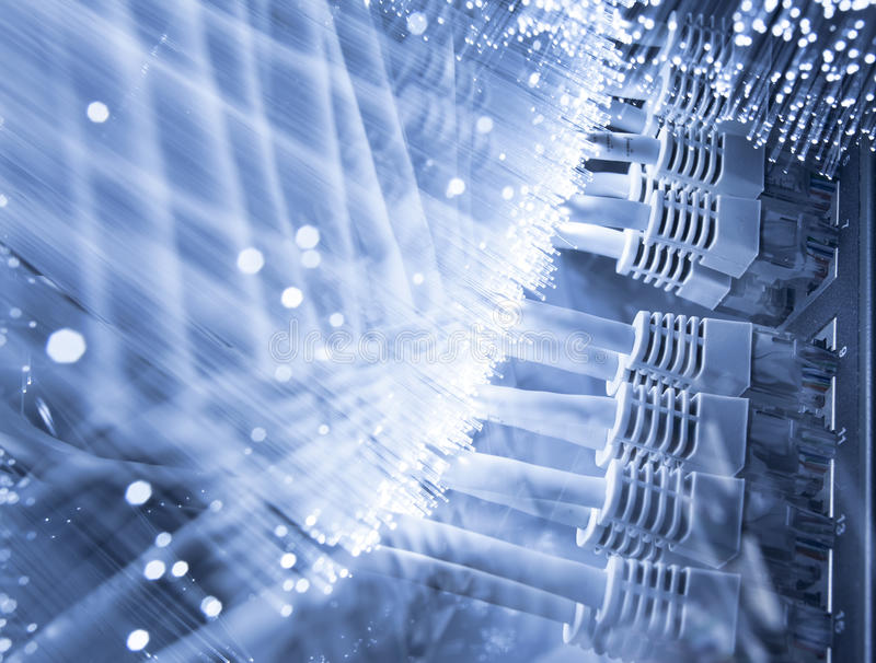 Server and Fiber optics. Background royalty free stock photography