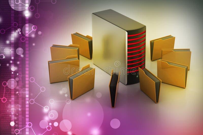 Server with file folder. In color background vector illustration
