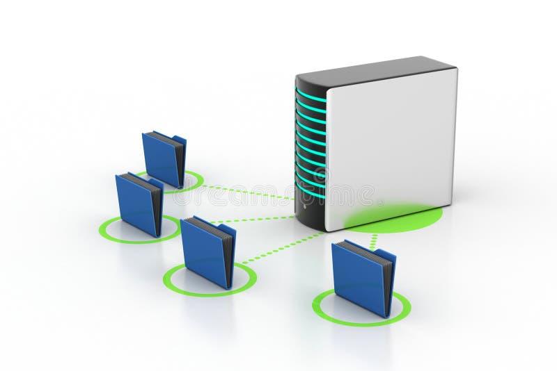 Server with file folder. In white background stock illustration