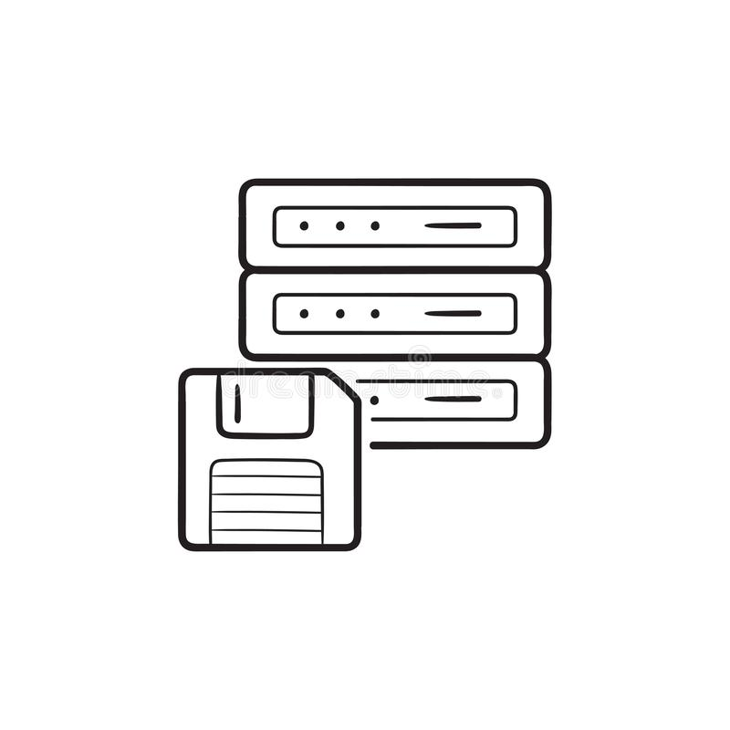 Server with floppy disk hand drawn outline doodle icon. stock illustration
