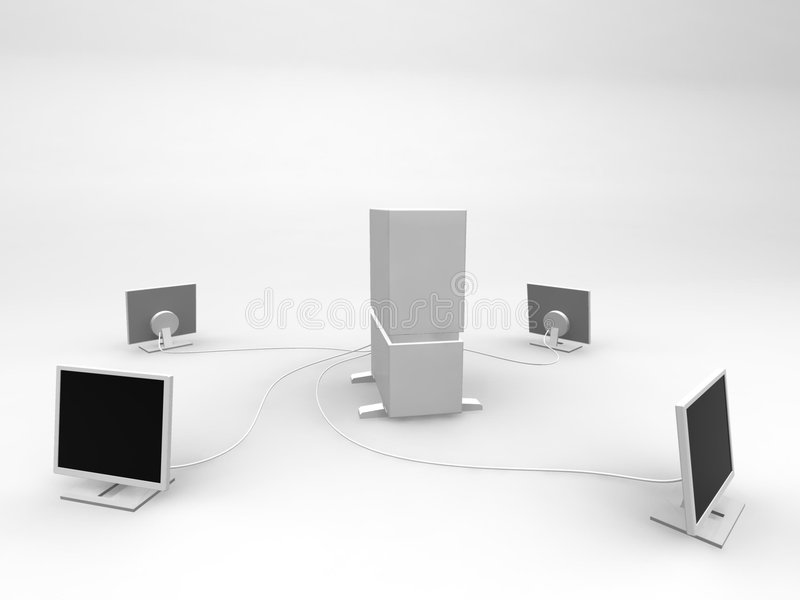 Server and four monitors vector illustration