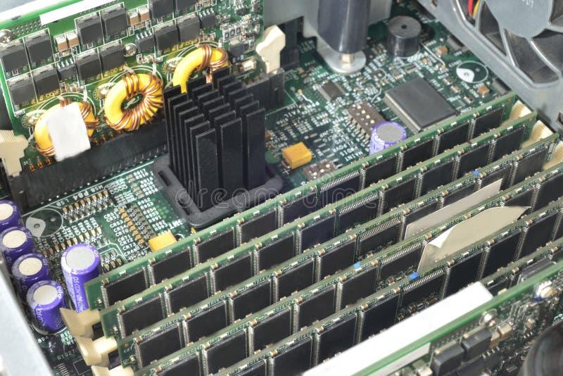Server green motherboard stock photos
