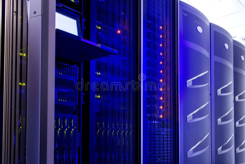 Server hardware for the data center with the control terminal royalty free stock images