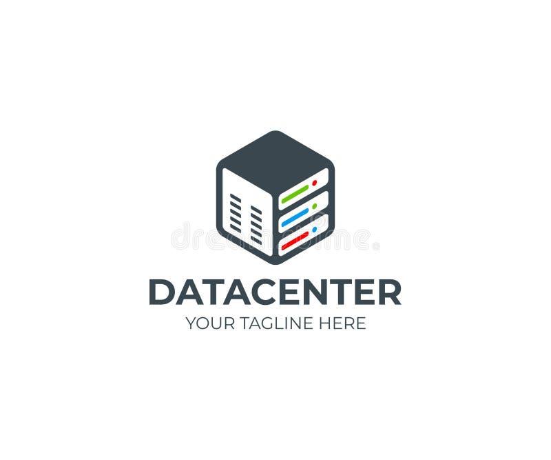 Server in a hexagon logo template. Data storage vector design vector illustration