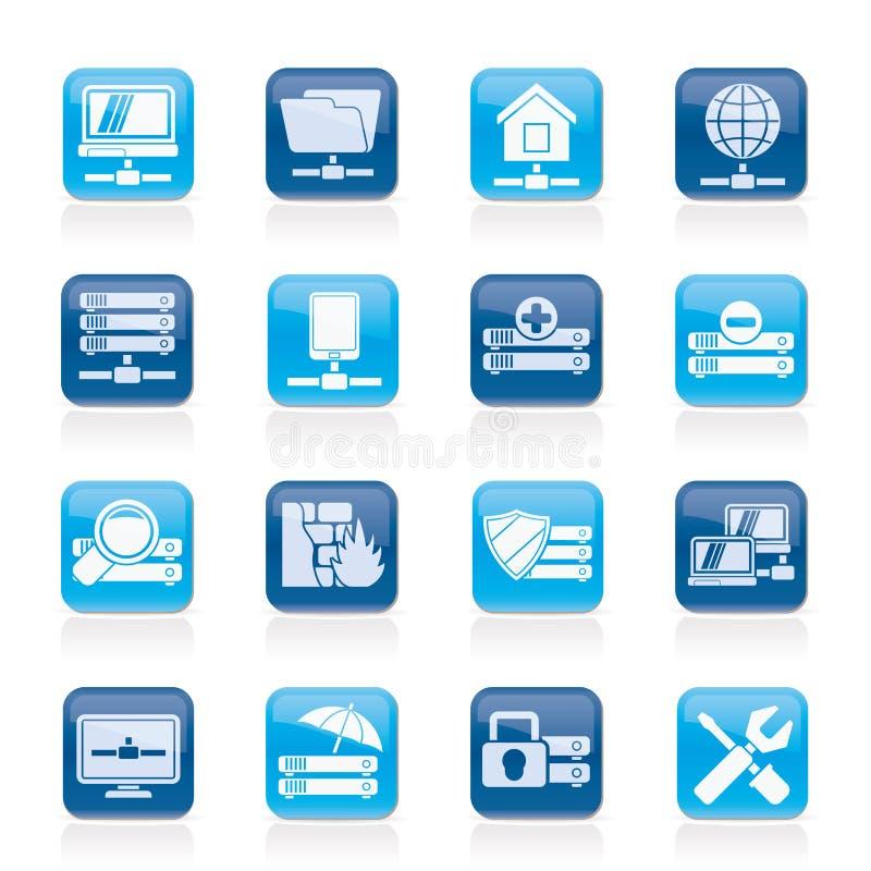 Server-, Hosting- und Internet-Ikonen lizenzfreie abbildung