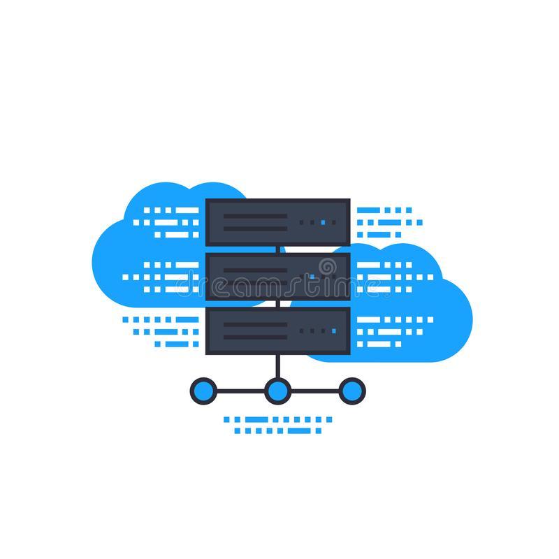 Server, hostingservices, pictogram cloudsysteem vector illustratie