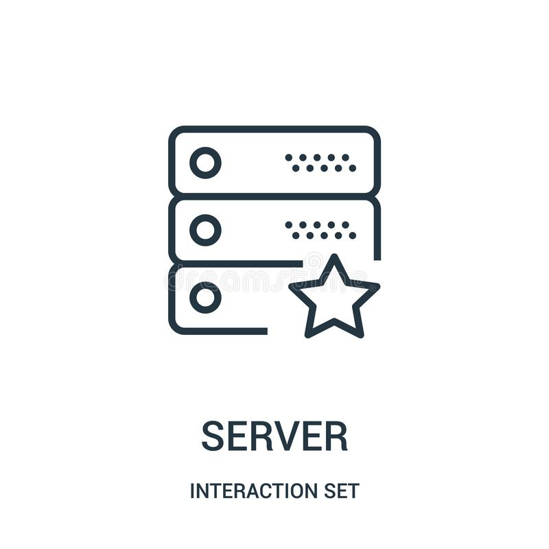 Server icon vector from interaction set collection. Thin line server outline icon vector illustration. Linear symbol for use on web and mobile apps, logo stock illustration