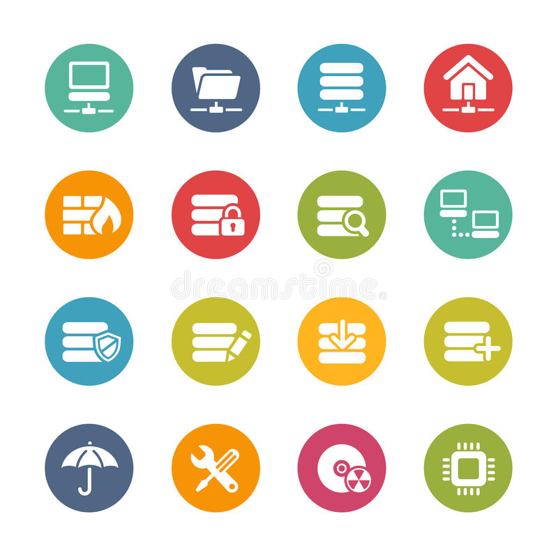Server Icons -- Fresh Colors Series vector illustration