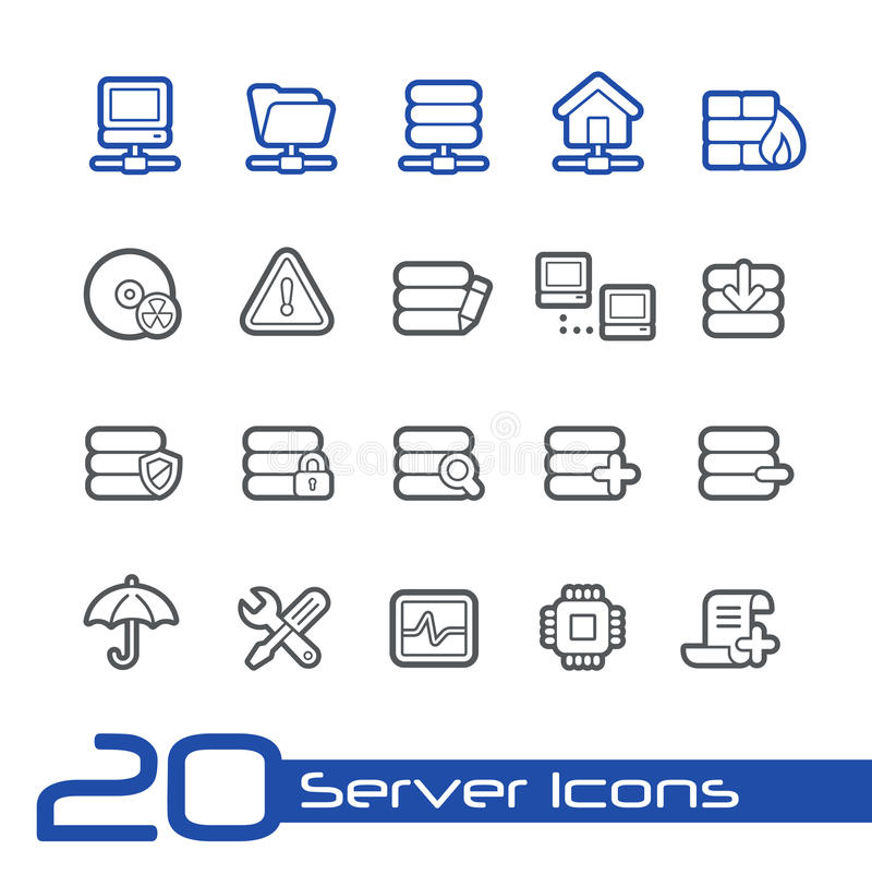 Server Icons // Line Series stock illustration