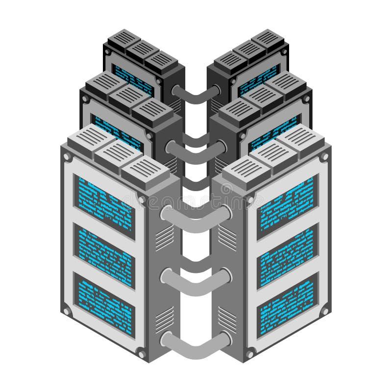 server Isometric ύφος κέντρων δεδομένων Βιομηχανία Διαδικτύου Tra στοιχείων απεικόνιση αποθεμάτων