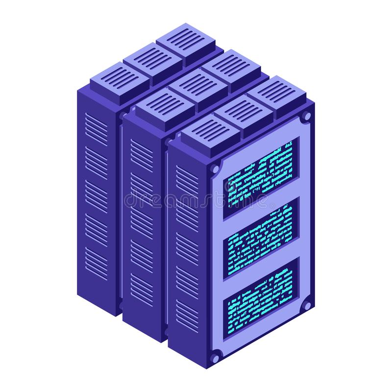 server Isometric ύφος κέντρων δεδομένων Βιομηχανία Διαδικτύου Tra στοιχείων διανυσματική απεικόνιση