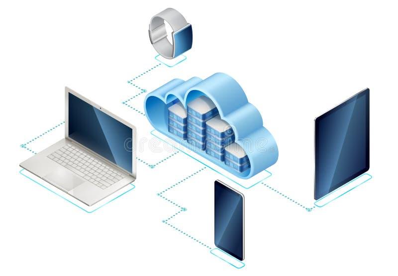 Server isometrico in nuvola con gli aggeggi illustrazione vettoriale