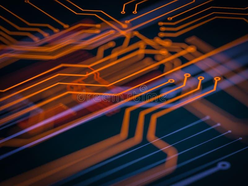 Server-Kennzahlbearbeitung der Leiterplatte futuristische Orange, grüner, blauer Technologiehintergrund mit bokeh Abbildung 3D lizenzfreie abbildung