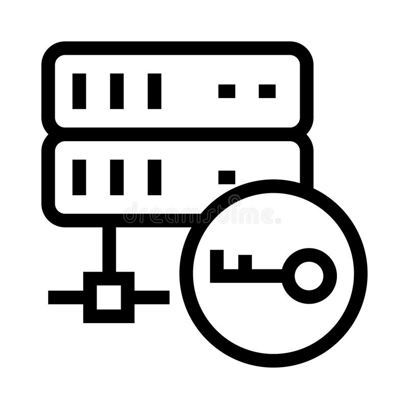 Server key vector glyphs icon. Elements for mobile concept and web apps. Thin line icons for website design and development, app development. Premium pack vector illustration