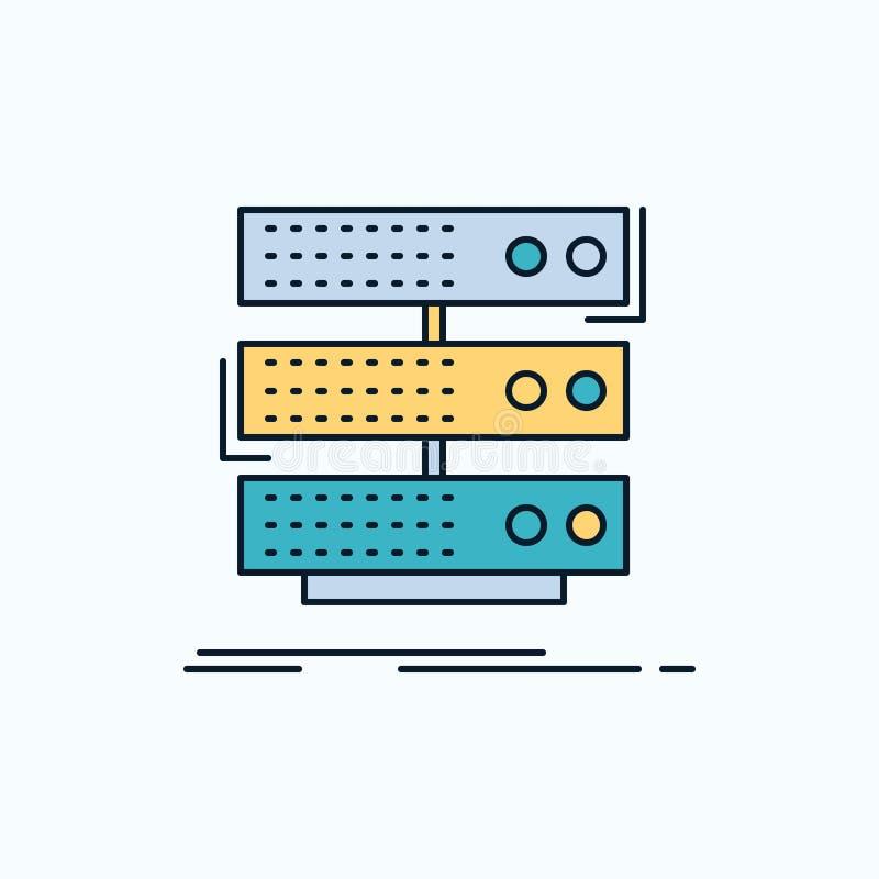 Server, Lagerung, Gestell, Datenbank, Daten flache Ikone r Vektor lizenzfreie abbildung