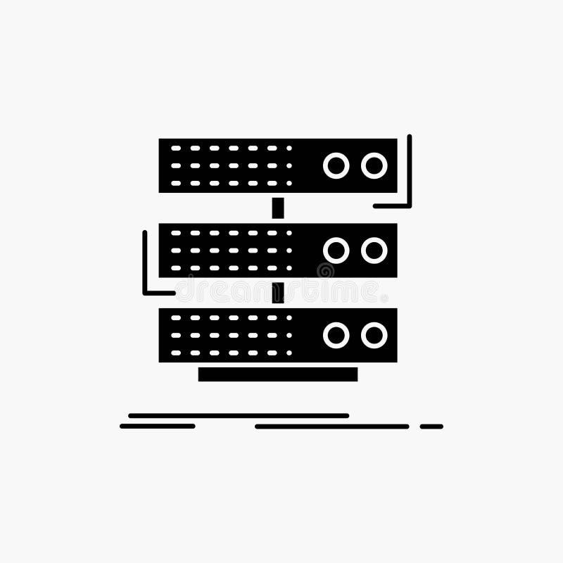 Server, Lagerung, Gestell, Datenbank, Daten Glyph-Ikone Vektor lokalisierte Illustration vektor abbildung