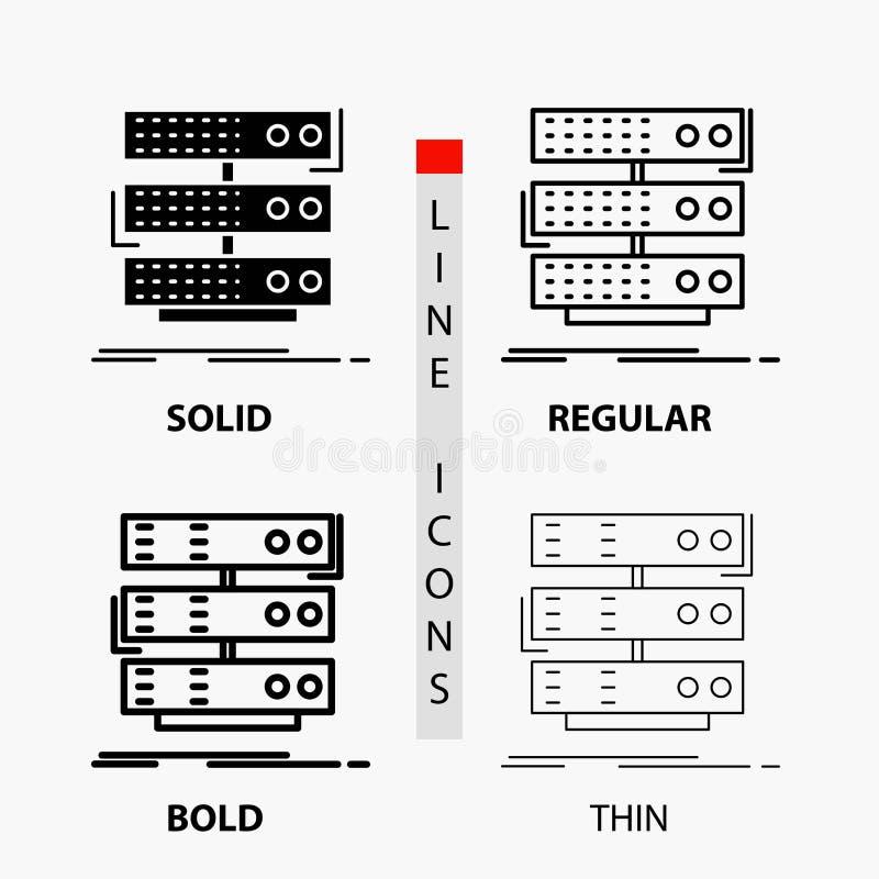 Server, Lagerung, Gestell, Datenbank, Daten Ikone in der dünnen, regelmäßigen, mutigen Linie und in der Glyph-Art Auch im corel a vektor abbildung