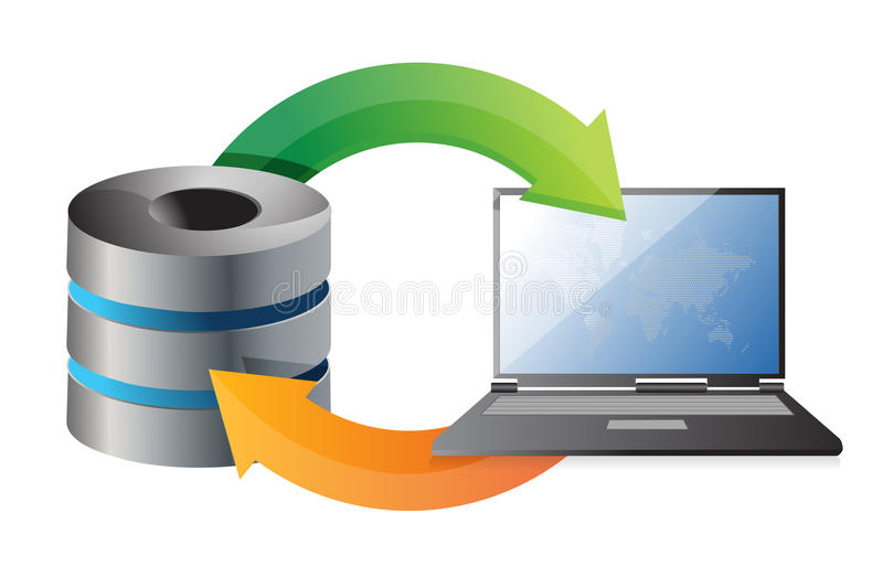 Download Server And Laptop Connected To The Network Stock Illustration - Illustration: 29176007