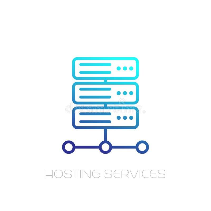 Server linje för varande värd service symbol på vit royaltyfri illustrationer