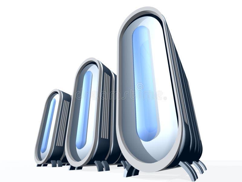 Server met Blauw Glas stock illustratie