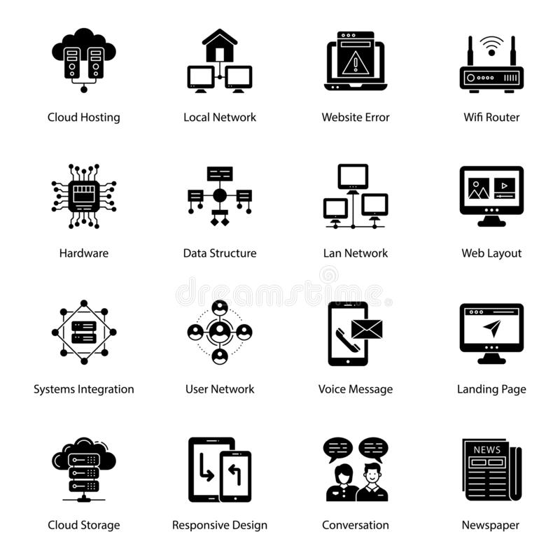 Server Network Filled Vectors Pack. We have designed server network and filled vectors to make your assignments easily editable and conceptually based. Grab and stock illustration