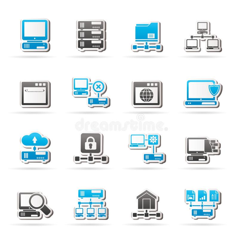 Server and network icons. Vector icon set vector illustration