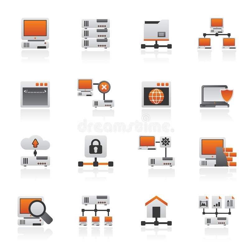 Server and network icons. Vector icon set royalty free illustration