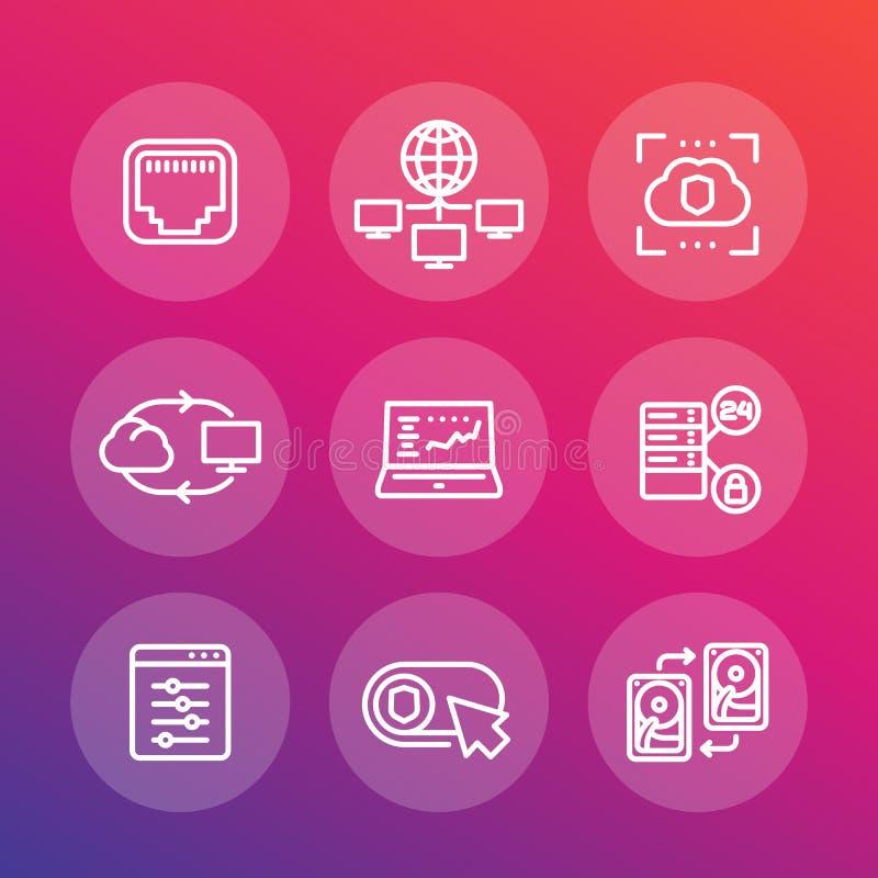 Server, Netze, Wolkenlösungen, Datenspeicherung vektor abbildung