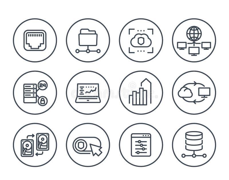 Server, Netzlösungen, Linie Ikonen bewirtend stock abbildung